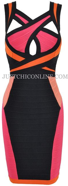 """The """"Ciara"""" Multi-Colored Cut Out Bandage Dress. Made with high quality luxury bandage fabric. $156.00"""