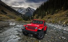 Download wallpapers Jeep Wrangler Rubicon, offoroad, 2018 cars, new Wrangler, SUVs, Jeep