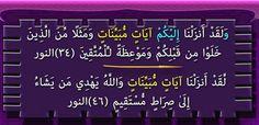"""""""آيَاتٍ مُّبَيِّنَاتٍ"""" : مرتان فى القرآن فى سورة النور"""