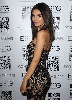 Victoria Justice strapless dress booty at Kode event