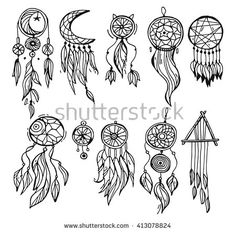 Dream catcher dreamcatcher aztec feather tribal hand drawn black and white  vector  set with decoration. Native american illustration isolated on white background. - stock vector