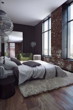 nonconcept: Penthouse by Sergey Makhno ~ bedroom. brick and greys. (I would choose a different rug, but besides that)