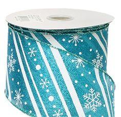Turquoise Metallic with White Stripes and Snowflakes Ribbon - 2.5