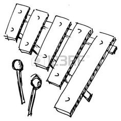 percussion mallet: hand drawn, sketch, cartoon illustration of xylophone