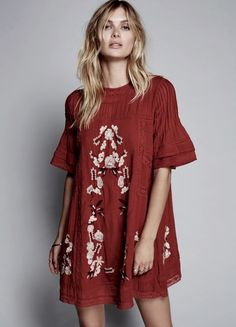 NWT Free People rust red Embroidered Floral Victorian Swing Mini Shift Dress XS #FreePeople #ShiftDress