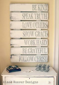 I want this for my office or living room!  Love the words and the pallet boards are all spaced...very cool.