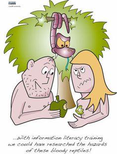information literacy cartoons Common App Essay, Information Literacy, Teacher Librarian, Essay Prompts, Adam And Eve, Media Center, Bowser, Cartoons, Education