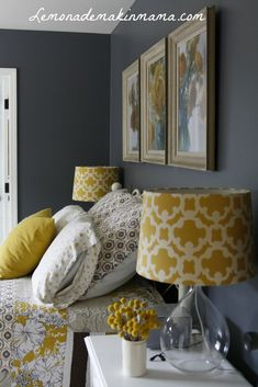 Gray Bedroom Ideas, Gray Master Bedroom Ideas, Purple and Gray Bedroom Paint Ide… – Top Trend – Decor – Life Style Bedroom Color Schemes, Bedroom Colors, Home Decor Bedroom, Yellow Gray Bedroom, Grey Bedroom With Pop Of Color, Bedroom Colour Schemes Inspiration, Colourful Bedroom, Yellow Rooms, Bedroom Brown