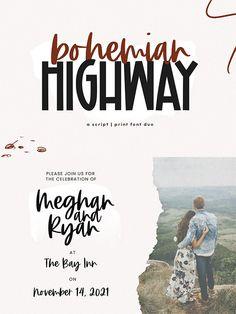 Bohemian Highway - Font Top Fonts, Best Script Fonts, Script Words, Script Typeface, Bohemian Font, Social Media Books, Holiday Fonts, Logo Tutorial, Handwritten Script Font