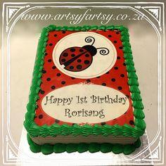 Ladybug Edible Picture Cake #ladybugcake Bird Cakes, Cupcake Cakes, Cupcakes, Edible Picture Cake, Ladybug, Butterflies, Birds, Birthday, Happy