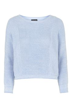ANSEL Topshop Two-Tone Tipped Crop Jumper - Pale Blue
