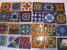 DIY Talavera tiles as fridge magnets!