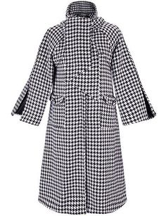 #fashion #accessories Winter Houdstooth Scarf Collar Long Wool Coat in Split Sleeve   Black and White by Moda Tendone - WoolCoat Clothes, Fashionable, White, Women, WoolCoat