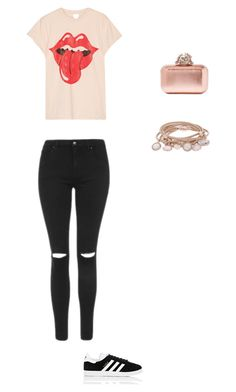 """The Rolling Stones"" by amk6300-1 ❤ liked on Polyvore featuring MadeWorn, Topshop, adidas, Marjana von Berlepsch and Jimmy Choo"