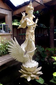 Goddess Saraswati by mdkarya - Saraswati is a beautiful goddess of knowledge. In Bali there is a celebration of knowledge held every 6 months. The statue of Goddess Saraswati is mostly found in school yards in the Island of Gods, Bali