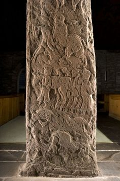 This is the carved scene of the rear of the Fowlis Wester stone.  There are mounted battle figures, but also cattle -   perhaps the story of the Golden Calf, in a typical mix of Pictish and Christian motifs.