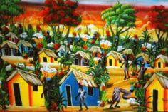 Typical town scene in DR Caribbean Art, Tiki Room, African Diaspora, Dominican Republic, Restaurant Design, Art Google, Amazing Art, Art Drawings, Arts And Crafts