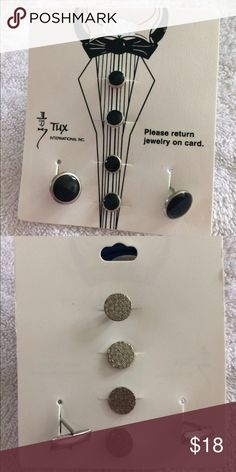NWT CUFFLINKS AND BUTTON COVERS NWT CUFFLINKS AND BUTTON COVERS  TUX INTERNATIONAL BRAND BLACK WITH SILVER  PERFECT CONDITION Tux International Suits & Blazers Tuxedos