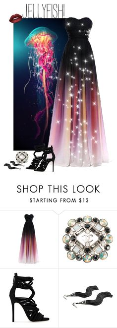 """""""Jellyfish Gown"""" by blondemommy ❤ liked on Polyvore featuring GoPro, Chanel, Giuseppe Zanotti and Lime Crime"""