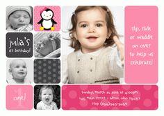 Penguin Girl Photo Card Birthday Invitation