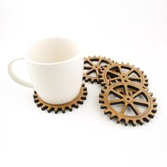 Gear Bamboo Coasters & Personalized Base Holder
