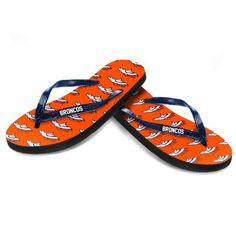 Women's Denver Broncos Glitter Logo Flip Flops