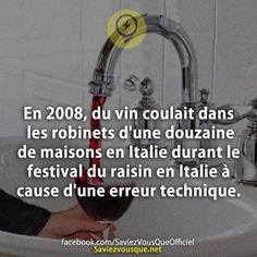 En 2008, du vin coulait dans les robinets d'une douzaine de maisons en Italie durant le festival du raisin en Italie à cause d'une erreur technique. | Saviez Vous Que?