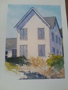 Captain's house, Ocracoke watercolor