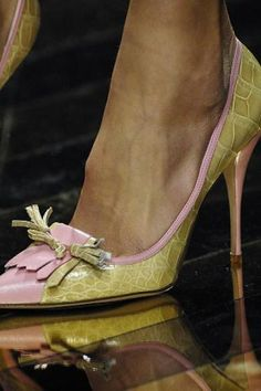 Valentino pale pink and apple green leather and alligator pumps with kiltie flaps and ties.