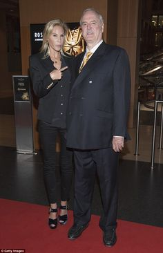 Good times: John Cleese, 76,  and wife Jennifer Wade, 43, stepped out at the Rose D'Or ceremony in Berlin, Germany on Tuesday evening