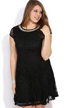 Deb Shops Plus Size Lace #Skater #Dress with Stone Neckline $37.03
