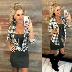 Penny Plaid Flannel Top: Grey top can be worn as long sleeves or a top. Winter Dress Outfits, Casual Dress Outfits, Fall Fashion Outfits, Classy Outfits, Autumn Fashion, Cute Outfits, Woman Outfits, Fashion Boots, Women's Fashion