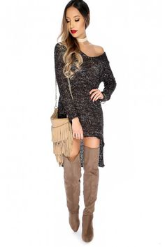 6bb1d25b5 Sexy Black Knit Long Sleeve Asymmetrical Back Lace Up Casual Sweater Dress