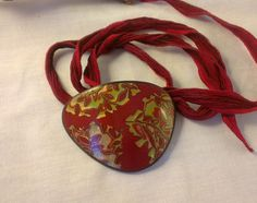 mokume gane technique ala Melanie Muir - polymer clay pendant on silk ribbon