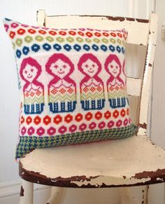 fair isle knit pillow by clova knits on etsy