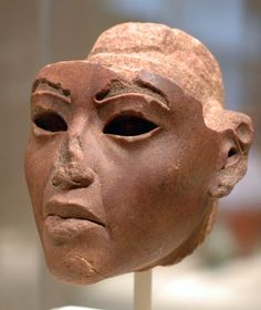 """"""" Quartzite head from the statue (11.159.26) from regnal 8-12 Akhenaten's reign. The image, which is a little stern, is suppose to be of Queen Tiye, the wife of Amenhotep III, because of facial similarities. The Metropolitan Museum of Art, New York."""""""