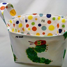 This one is back!    PK Fabric Basket in Very Hungry Caterpillar  Storage by PKStuff, $14.50
