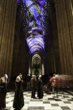 """Miguel Chevalier's 'Complex Meshes' projects a """"living universe"""" onto the proto-Gothic vault of Durham cathedral."""