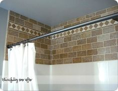 decorative tile above plain tile (or vinyl shower surround). Great idea if cant do a whole remodel. @ DIY Home Design Do It Yourself Furniture, Do It Yourself Home, Home Renovation, Home Remodeling, Bathroom Renovations, Cheap Renovations, Kitchen Remodeling, Br House, Shower Inserts