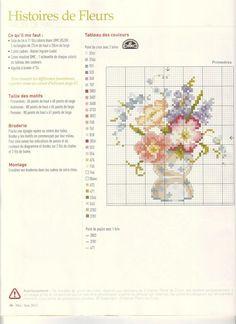 0 point de croix grille et couleurs de fils petit vase de primevères, fleurs