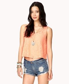 Boxy Floral Lace Top   FOREVER21 - 2025100455  Posted to the Stufflicious.com community storefront by sallysamson. Buy it directly from 0 for $15.8 today. #TankTops #Tops #Tanks #Womens #Apparel #Fashion #Style #Cute #Style