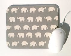 Elephant Mouse Pad / Gray and White / Modern Home Office Decor / Tiny Tip Top Japanese Canvas Fabric on Etsy, $12.00
