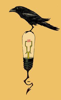 DDSC Raven on bulb, nevermore. by Devilpig.deviantart.com on @DeviantArt