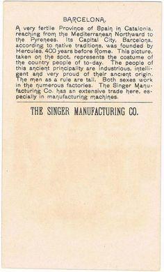 Singer Sewing Machine's World, 1892, Spain Barcelona Trade Card