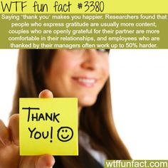 """How saying """"thank you"""" could make you feel better - WTF fun facts Wow Facts, Wtf Fun Facts, True Facts, Funny Facts, Random Facts, Strange Facts, Crazy Facts, Random Stuff, The More You Know"""