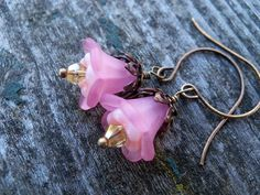 Pink Lucite and Czech Glass Flower Earrings by AliCsCreations, $12.75