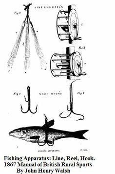 1867    Fishing Apparatus: Line, Rod, Reel.       From: Manual of British Rural Sports By John Henry Walsh.                             Via    Google Books    (PD-100)              suzilove.com
