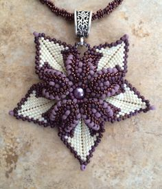 Flower Pendant with beaded chain. on Etsy, $75.00