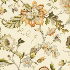 Augustine Amber Fabric by the Yard Floral Motif, Floral Prints, French Country Fabric, Sanderson Fabric, Waverly Fabric, Farmhouse Fabric, Fabric Gifts, Fabric Decor, Free Fabric Swatches