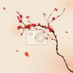 Adesivo cina, calligraphia, amore, primavera, carattere, illustration and painting.